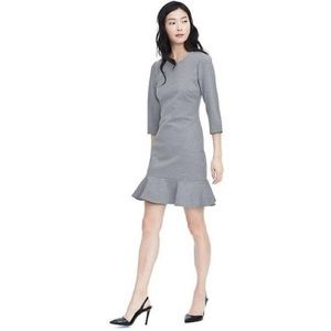 Banana Republic Flounce Gray Long Sleeve Dress